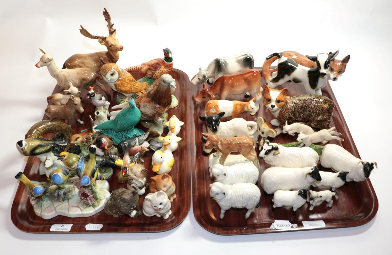 Lot 8 - Beswick Animals including: stag; doe and fawn; pigeon, model no.1383; a quantity of sheep; bird etc