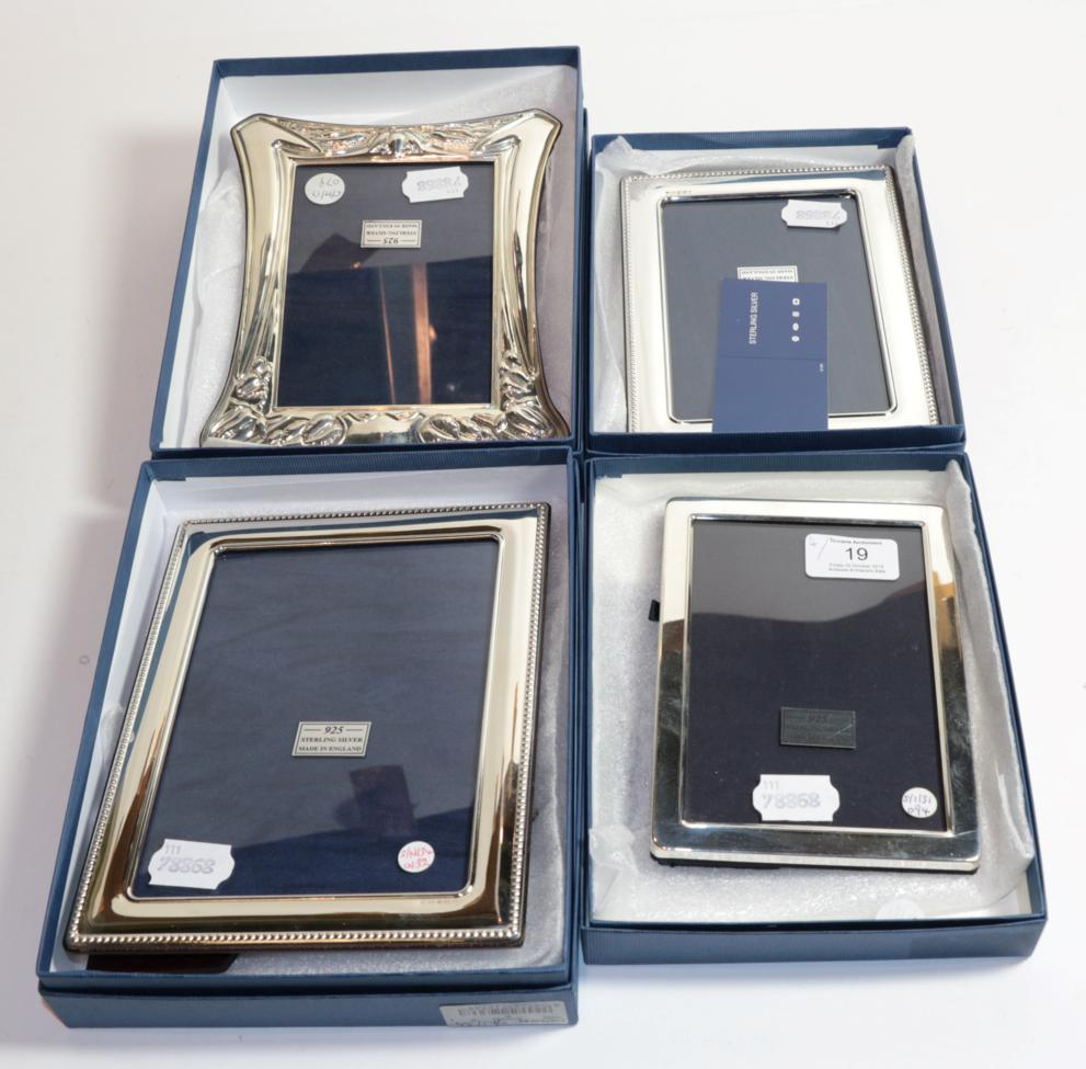 Lot 19 - Four Elizabeth II silver photograph frames by Carrs, Sheffield, two 2010 and two 2011, each...