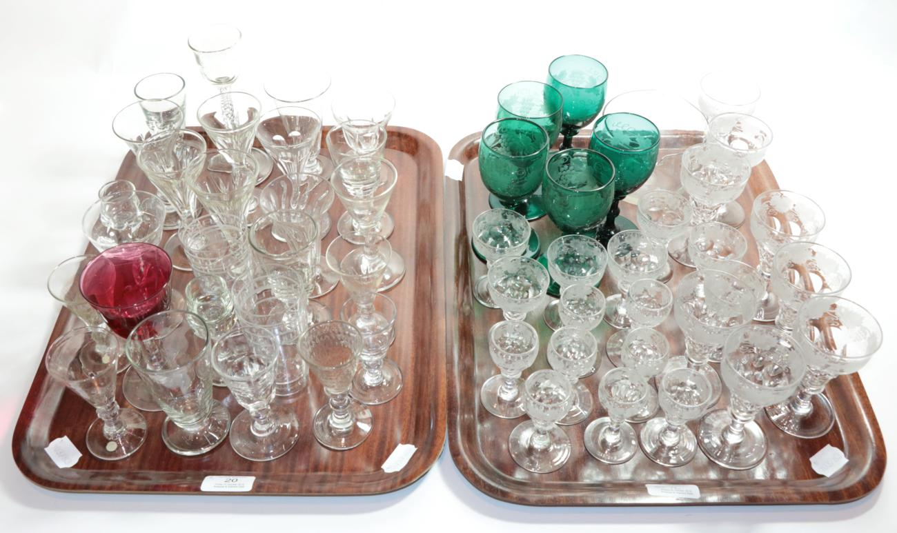 Lot 20 - A quantity of various glasses, wine glasses, finger bowl etc (two trays)