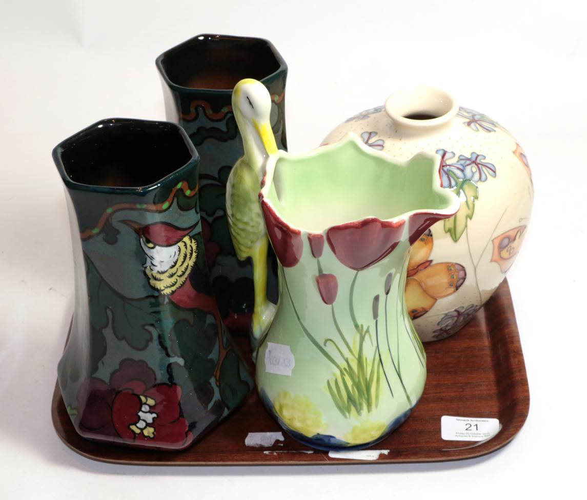Lot 21 - Moorcroft vase, Sylvac jug and a pair of painted flower vases (4)