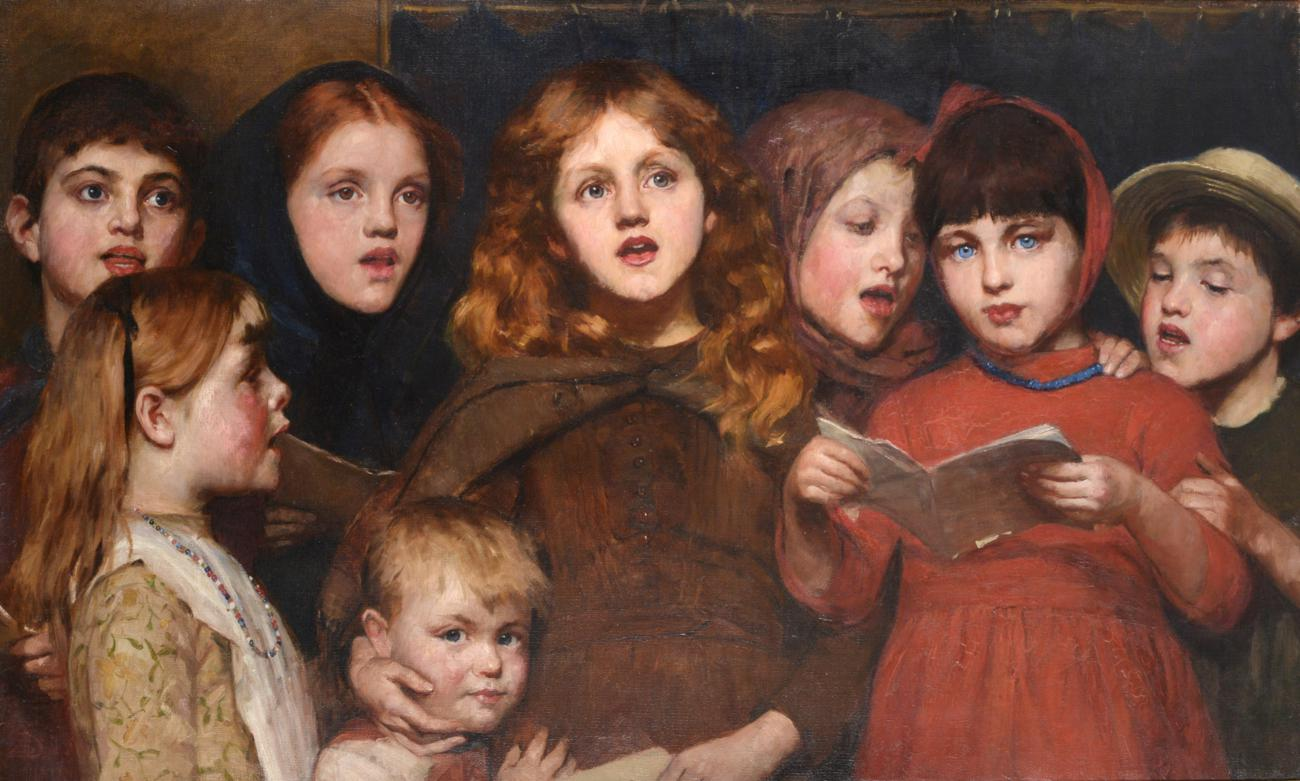 Lot 538 - Susan Isabel Dacre (1844-1933)  Choir of children  Monogrammed and dated 1888, oil on canvas,...