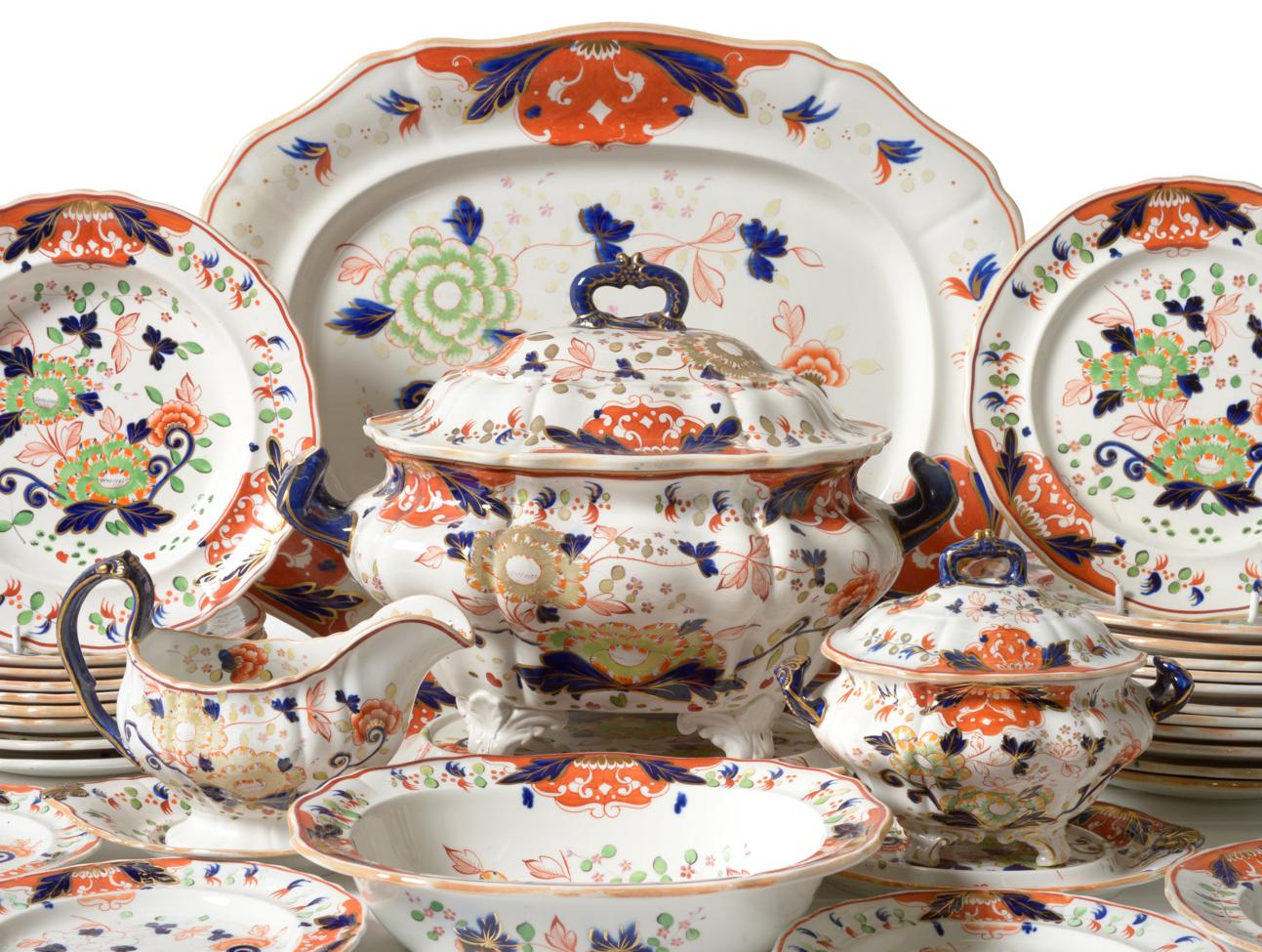 Lot 29 - A Davenport Stone China Dinner Service, mid 19th century, decorated with an Imari type design,...