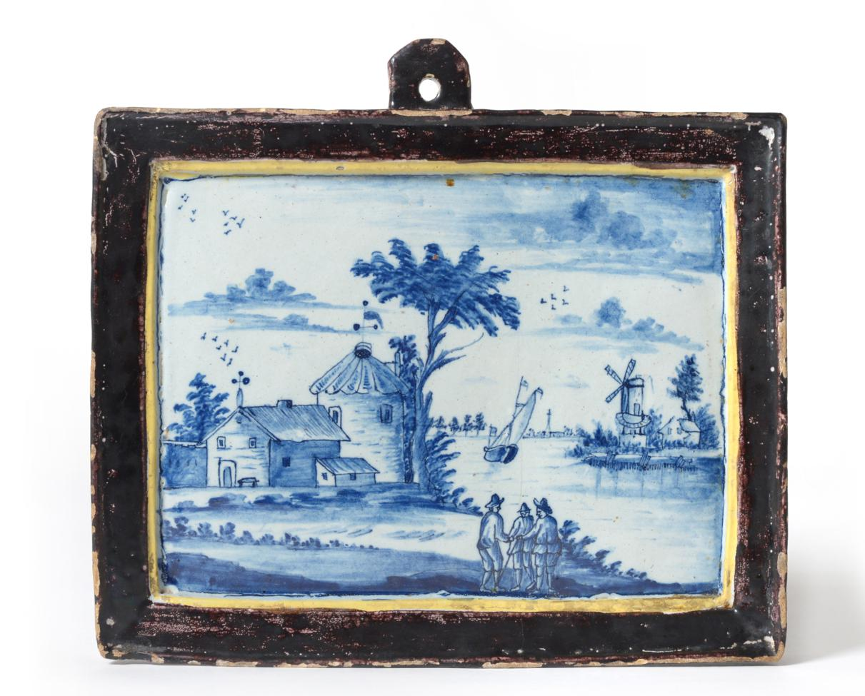 Lot 40 - A Dutch Delft Wall Plaque, 18th century, of rectangular form, painted in blue with figures in a...