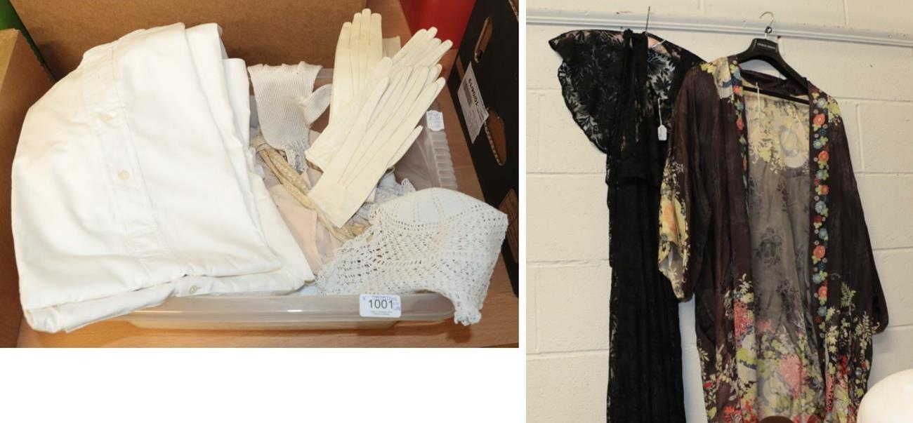 Lot 1001 - Circa 1930s black lace dress, sleeveless with tiered full length skirt and matching lace shawl,...