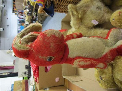 Lot 1008 - Possibly Farnell seated rabbit, another smaller, cotton plush curly teddy bear with jointed...