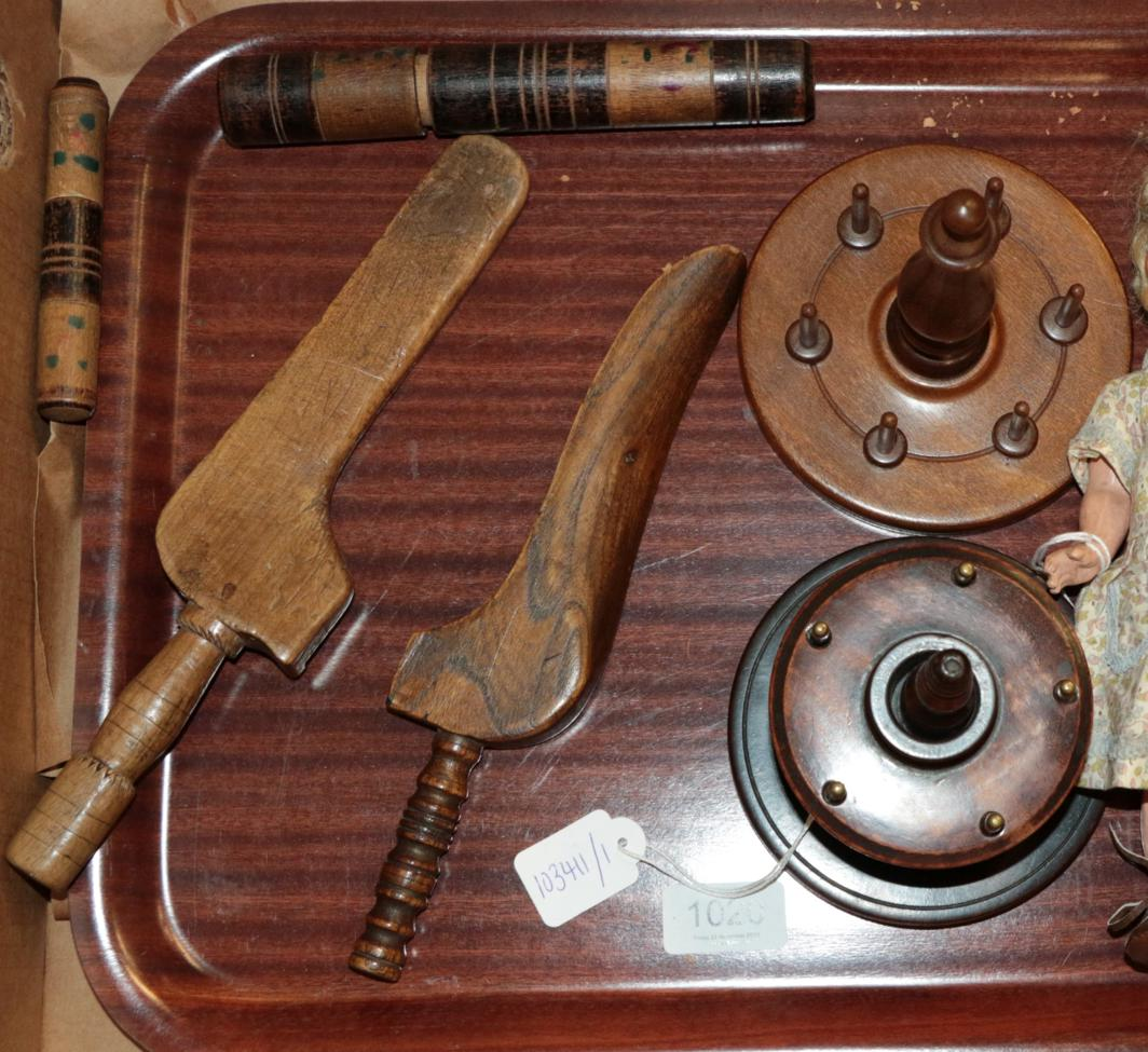 Lot 1020 - Two bobbin stands, two knitting sheaths and two bodkin cases