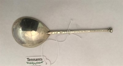 Lot 3001 - An Elizabeth I Silver Seal-Top Spoon, by William Cawdell, London, 1592, with tear-drop shaped...