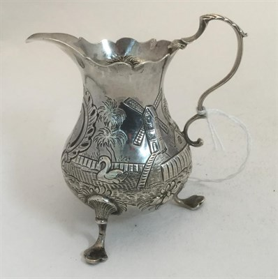 Lot 3006 - A George III Silver Cream-Jug, Maker's Mark AS NS, London, 1768, pear-shaped and on pad feet,...