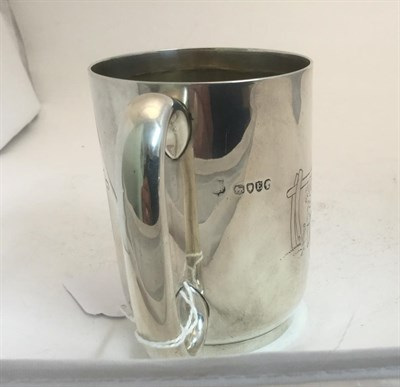 Lot 3040 - A Victorian Silver Christening-Mug, Maker's Mark Rubbed, London, 1880, cylindrical and on...