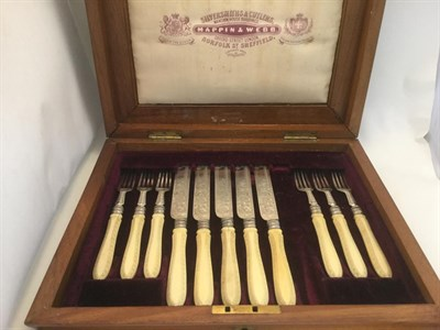 Lot 3045 - A Set of Victorian Silver-Mounted Ivory Fruit-Knives and Fruit-Forks, by Mappin and Webb,...