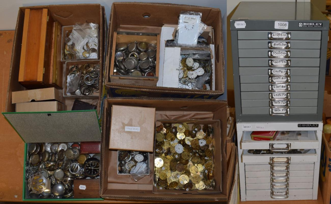 Lot 1008 - A large quantity of pocket watch and wristwatch dials and movements; nickel plated pocket watch...