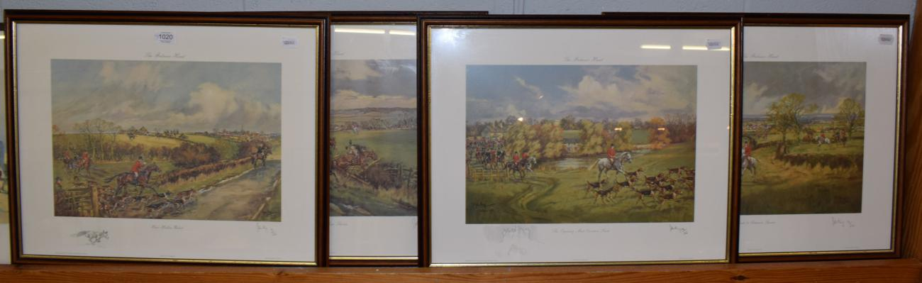 Lot 1020 - A group of four signed limited edition John King prints of The Belvoir Hunt