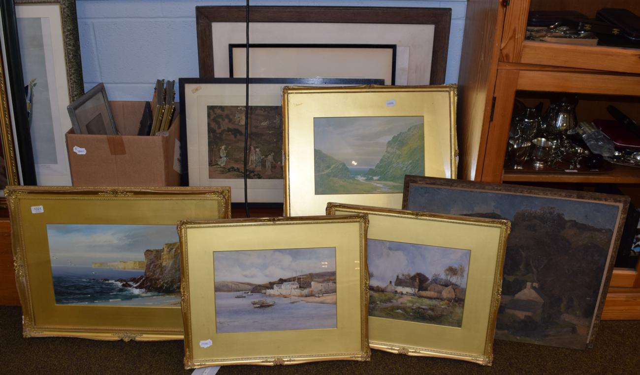 Lot 1021 - John Shapland (1865-1929) The White Cliffs, signed watercolour; two indistinctly signed 19th...