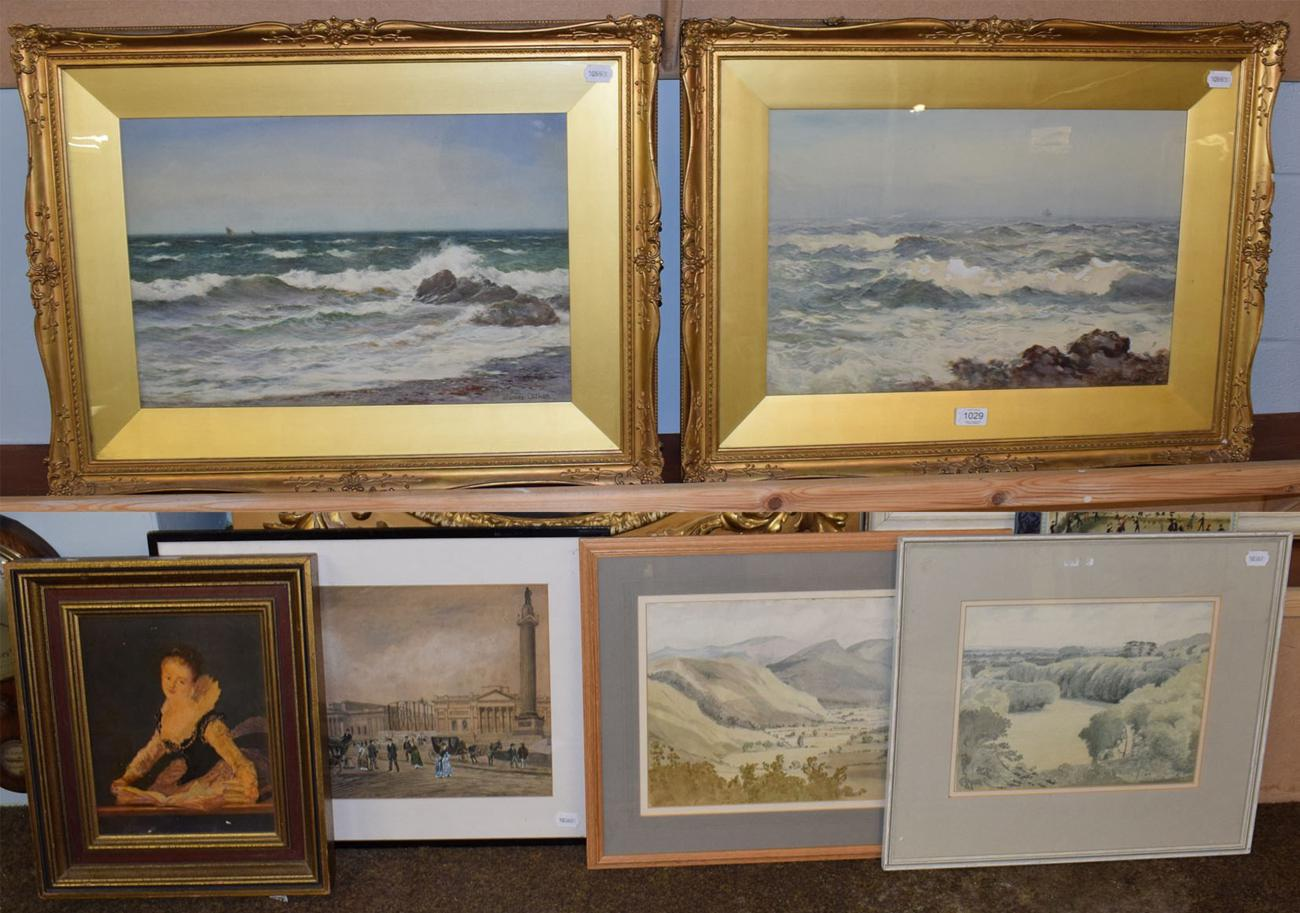 Lot 1029 - James Aitken (1880-1935) A pair of signed seascapes, watercolour, 32.5cm by 49.5cm