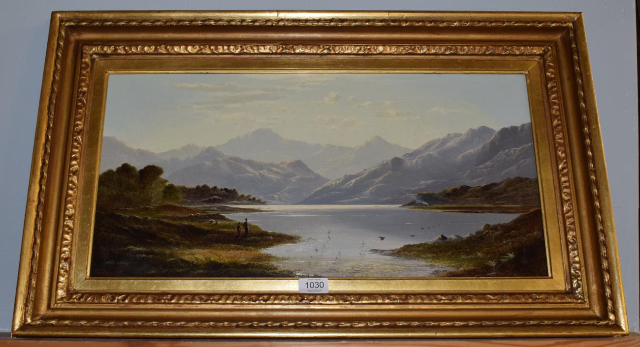 Lot 1030 - Attributed to Charles Leslie (1839-1886) Lakeland landscape with figures, bears signature and dated