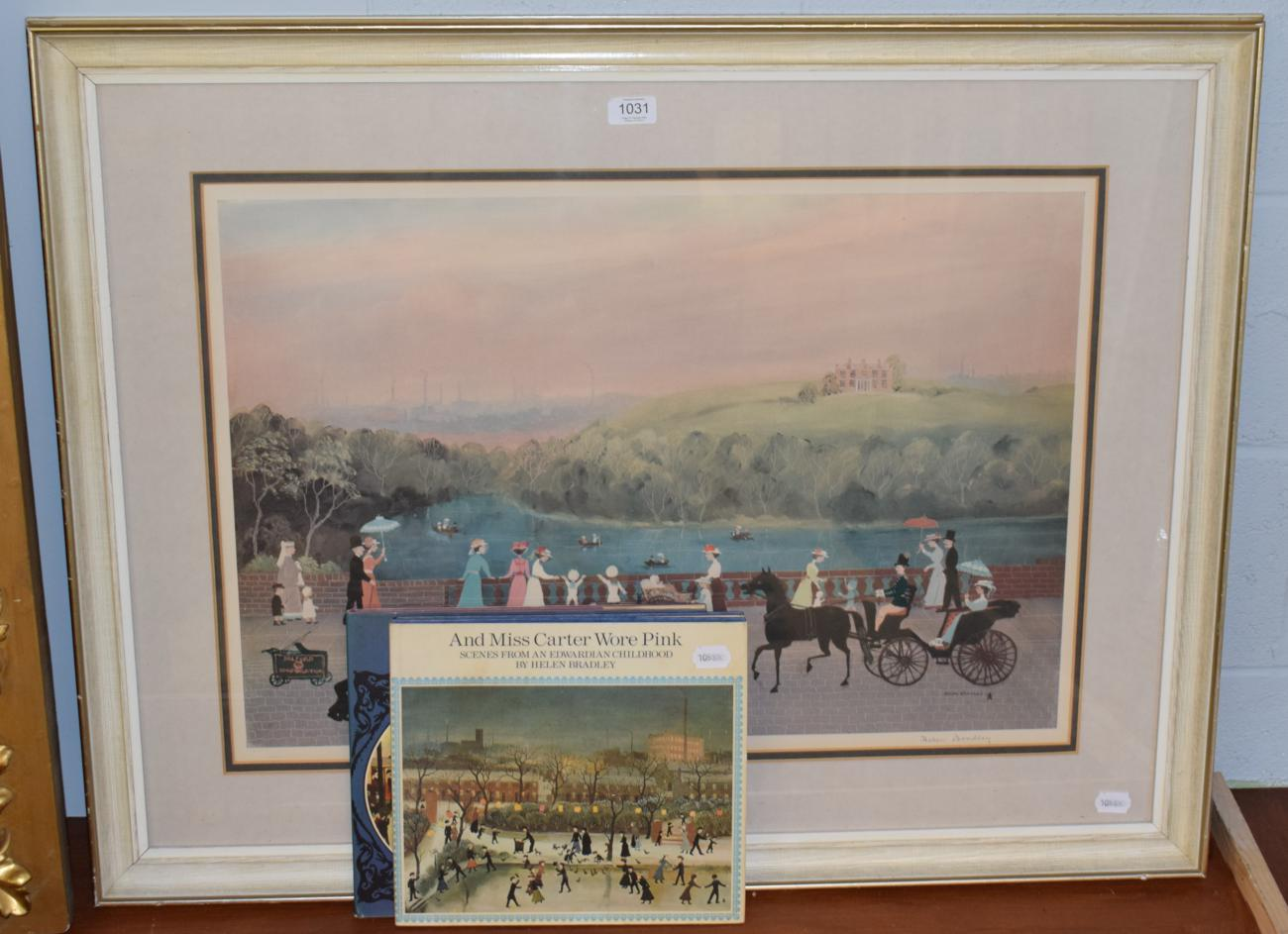 Lot 1031 - Dame Helen Bradley, A lady in pink, signed print; together with two books about the artist