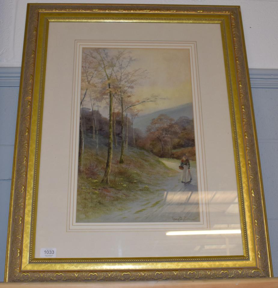 Lot 1033 - George Oyston (19th century) Figure on a country lane, signed, watercolour, 49.5cm by 30.5cm