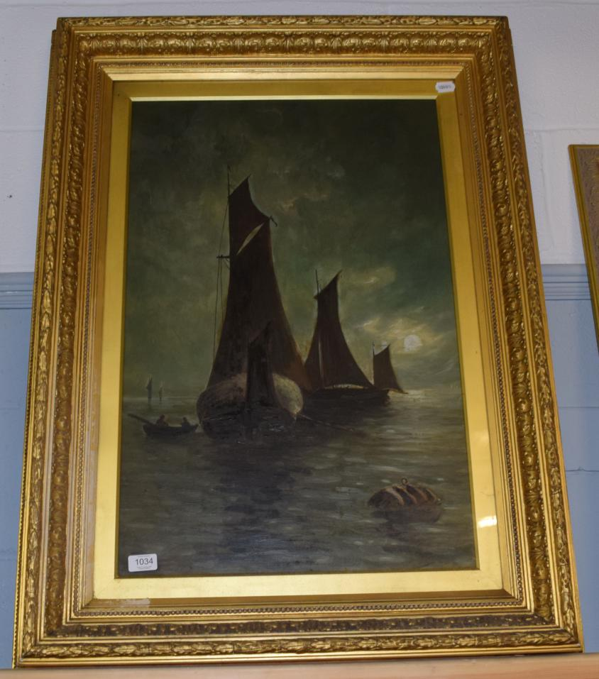Lot 1034 - British School (19th century) Nocturne shipping scene, bears signature, oil on canvas, 73.5cm...