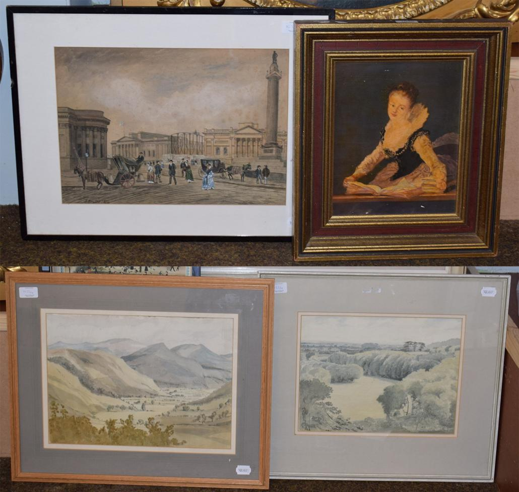 Lot 1035 - An oil on board portrait of a lady; a 19th century watercolour of a London street scene; and...