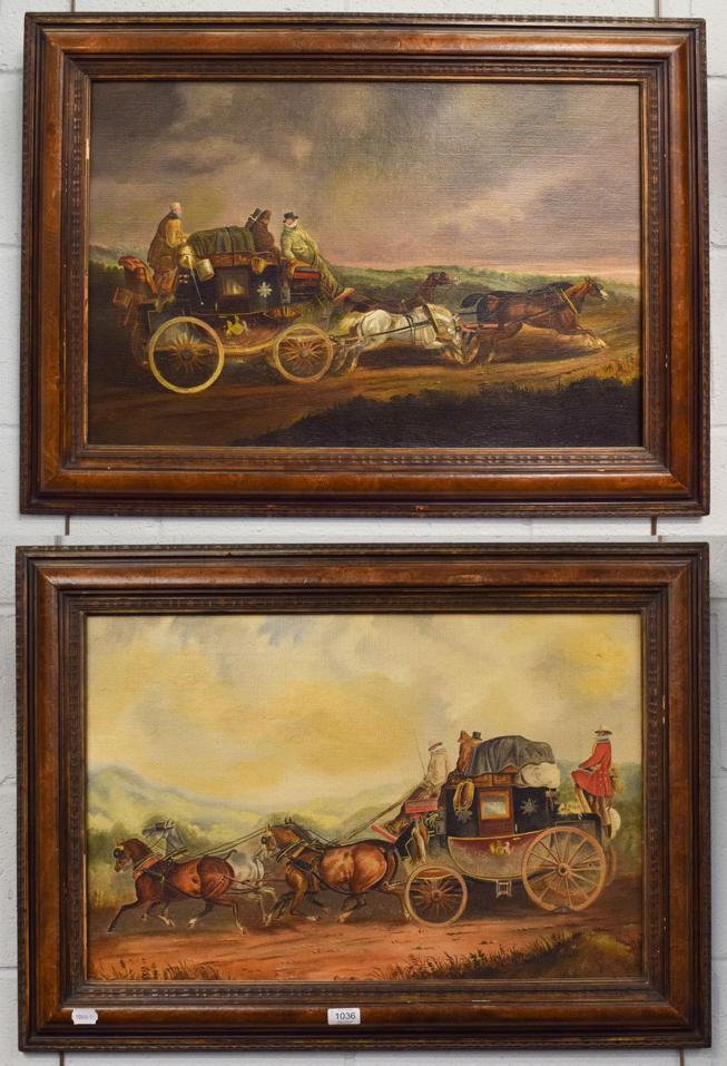 Lot 1036 - British School, A pair of naive coaching scenes with a stagecoach, one the Exeter to London...