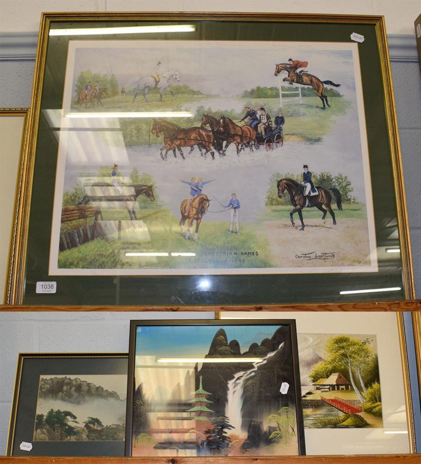 Lot 1038 - After Cheristime Liggertwood, World Equestrian Games Stockholm, 1990 signed print; an...