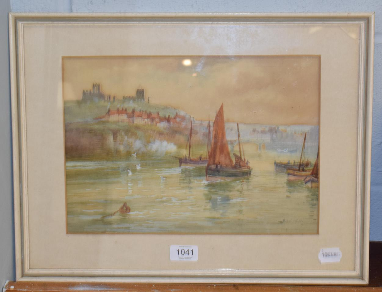 Lot 1041 - British School (19th/20th century) Boats off Whitby, indistinctly signed, watercolour