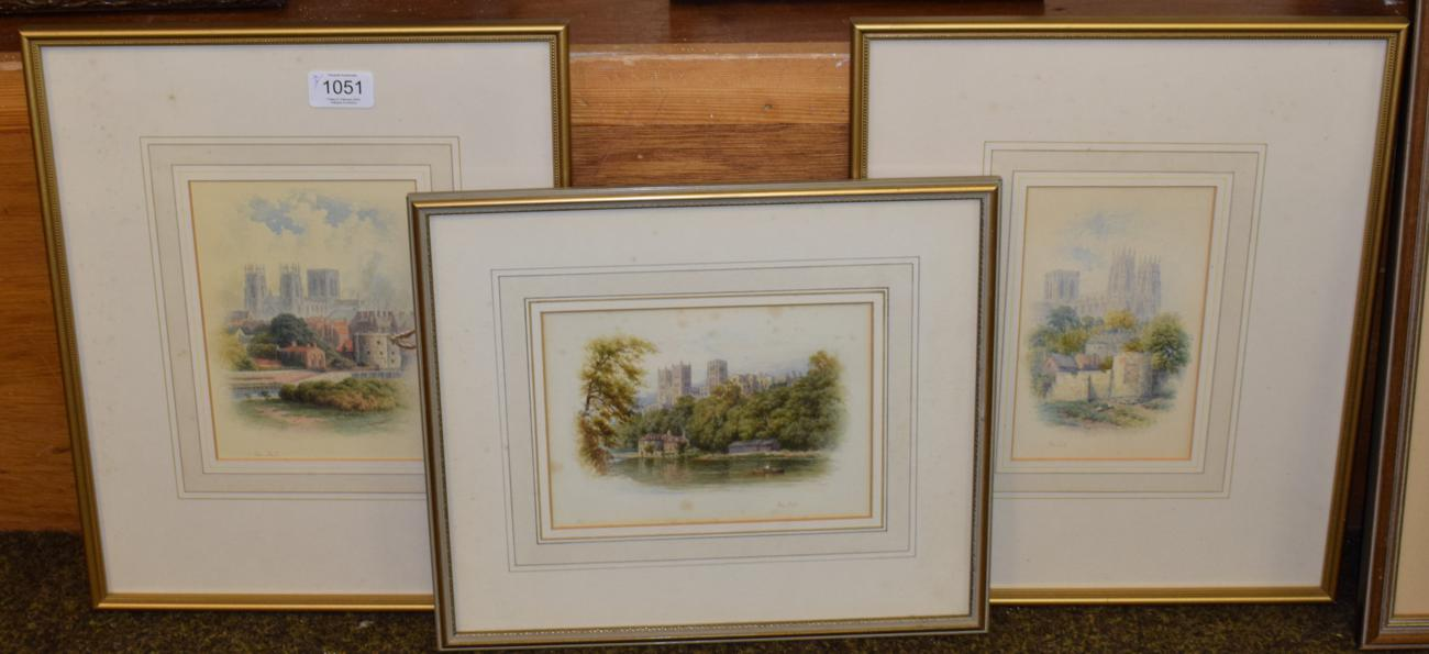 Lot 1051 - George Fall (c.1848-1925) View of York Minster with boating in the foreground, signed; together...