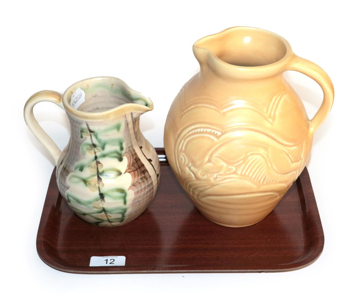 Lot 12 - A Susie Cooper Studio ware jug, 1930's, with charging ram design, bearing signature to base,...
