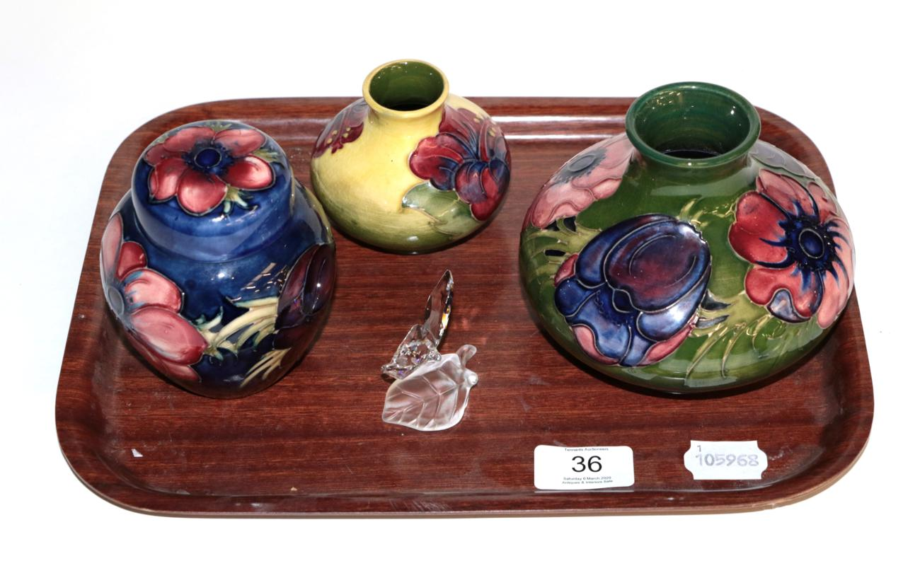 Lot 36 - Walter Moorcroft pottery: an Anemone pattern vase, Anemone pattern ginger jar and cover, and a...