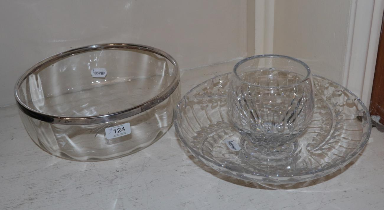 Lot 124 - A silver rimmed glass bowl; a signed cut glass bowl; and a signed cut glass vase