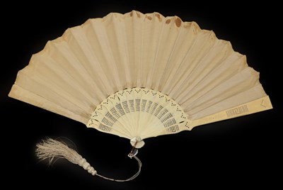 Lot 4002 - An Early Printed and Hand-Coloured Fan, the double paper leaf mounted on plain, slender ivory...