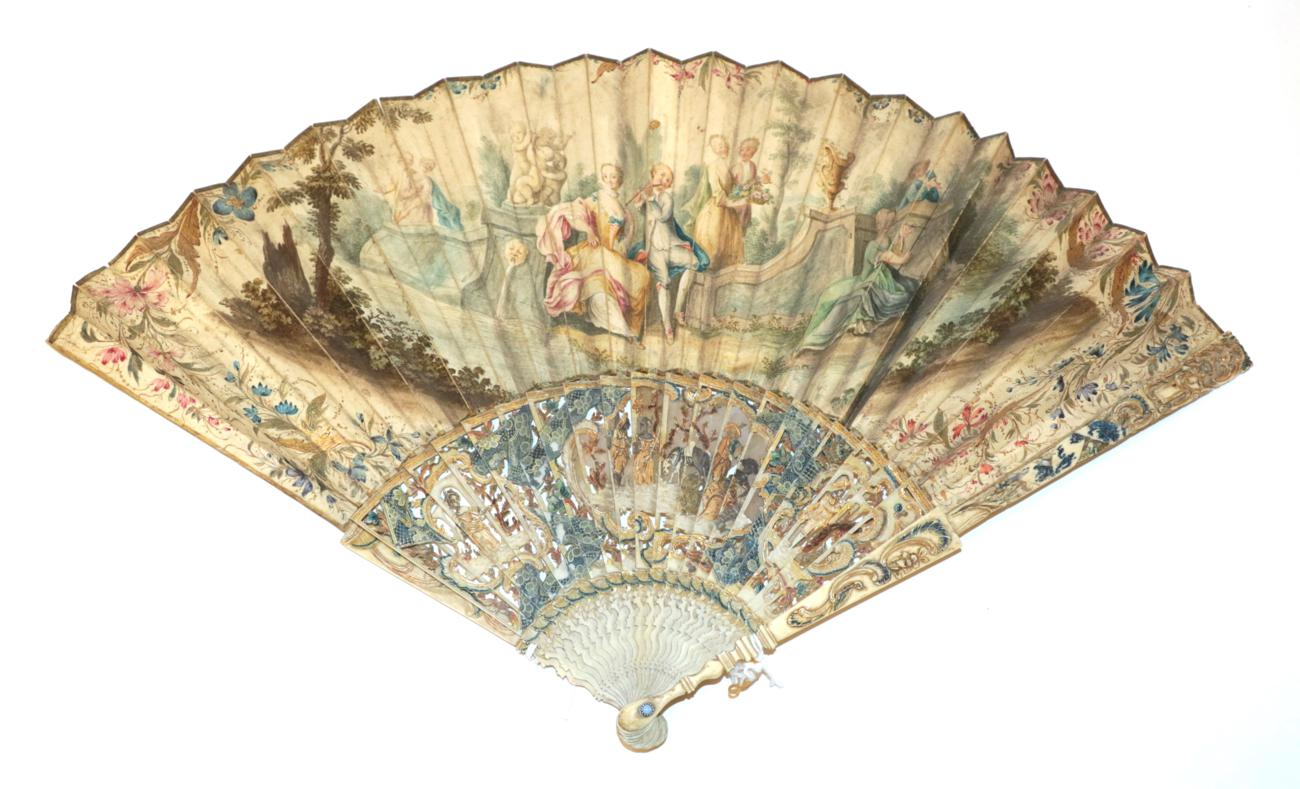 Lot 4008 - An Attractive Mid-18th Century Ivory Fan, the leaf mounted à l'Anglaise