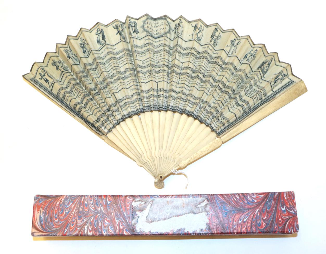 Lot 4013 - The New Caricature Dance Fan for 1799: a slender bone fan, the double paper leaf plain cream to the