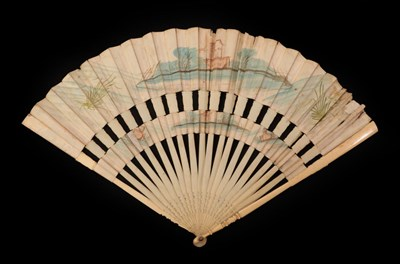 Lot 4014 - A Pretty Mid-18th Century Cabriolet Fan, the slender monture plain ivory, the gorge and...
