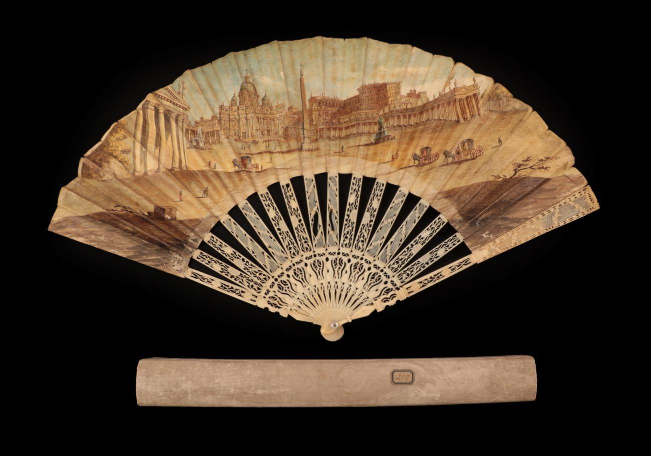 Lot 4015 - A View of Saint Peter's in Rome: An 18th Century Carved and Pierced Grand Tour Ivory Fan, the...