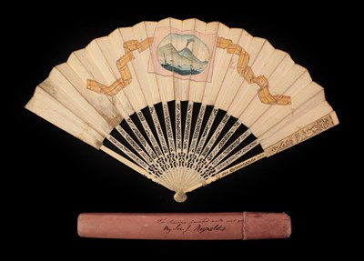 Lot 4016 - Grand Tour Fan, circa 1776, (note date to right hand side of leaf), depicting the Bay of Naples and