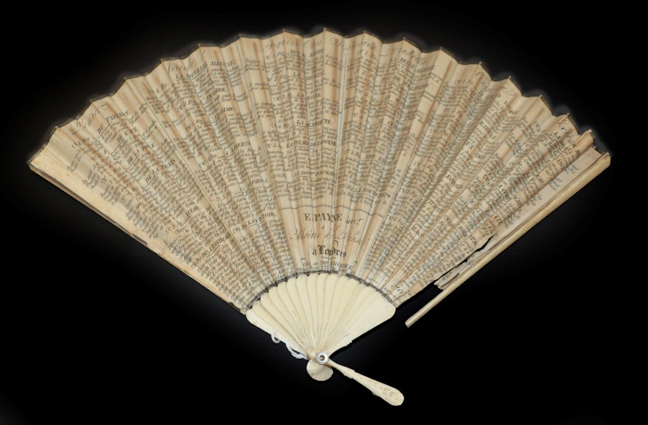 Lot 4018 - A Dance Fan, French, circa 1810, a double paper leaf mounted on bone with plain monture and...
