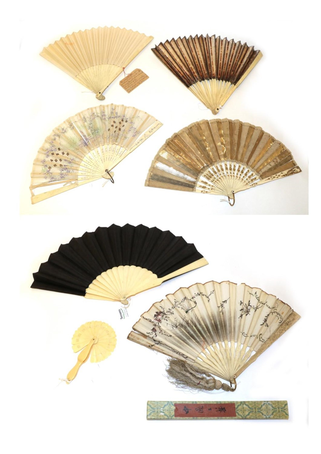 Lot 4019 - A Group of Late 18th/19th and Early 20th Century Folding Fans plus one small cockade, the...
