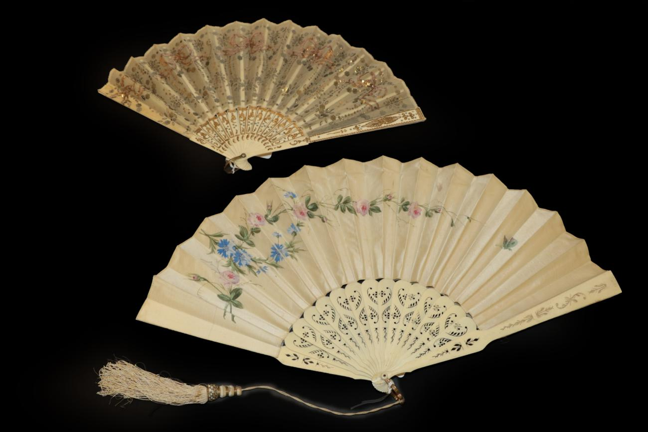 Lot 4024 - Three Fans: The first, circa 1890's, a large painted fan with double paper leaf, a restful scene of