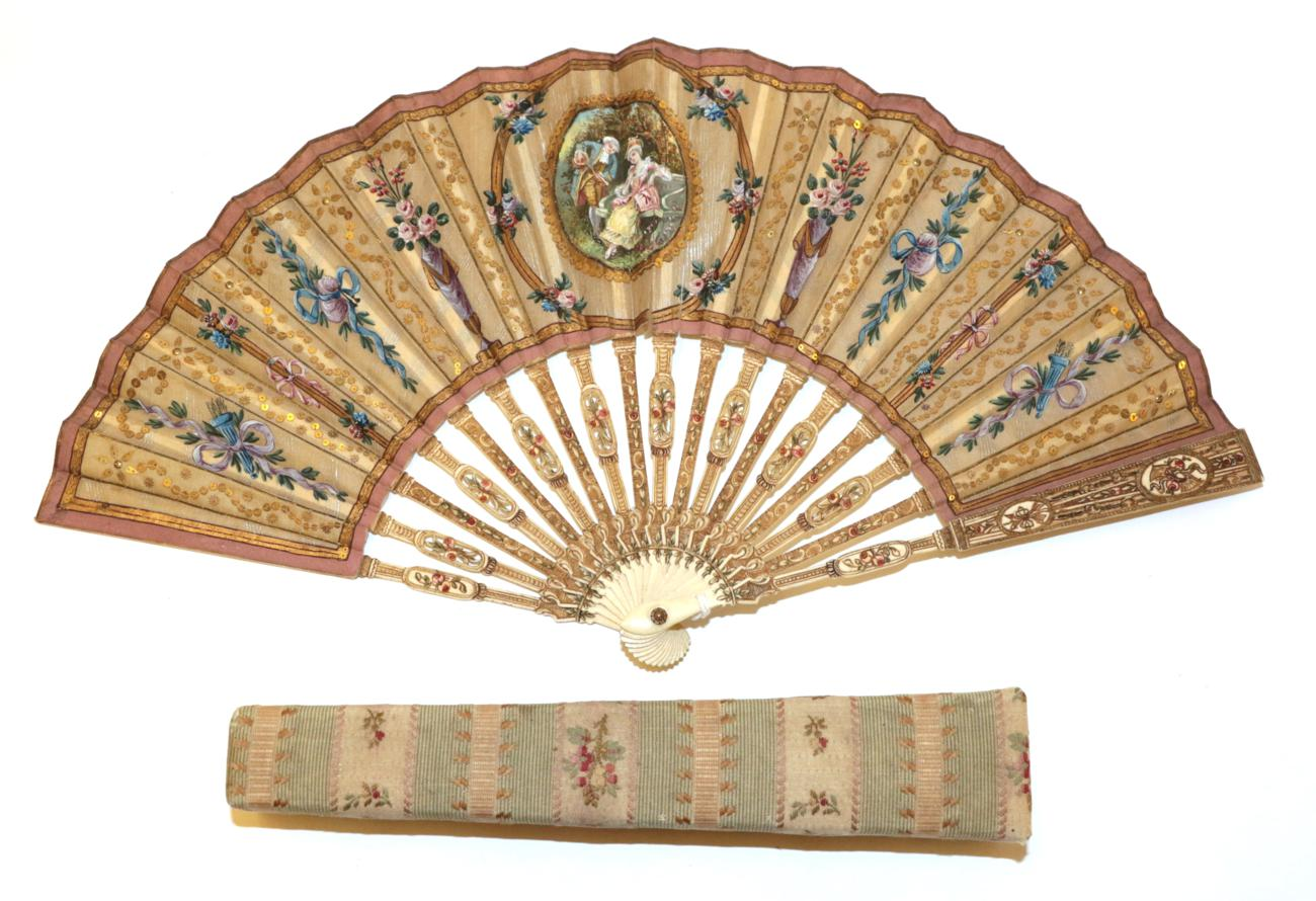 Lot 4025 - An Attractive Early 20th Century Silk Fan, being a pastiche of an earlier French fan, the...