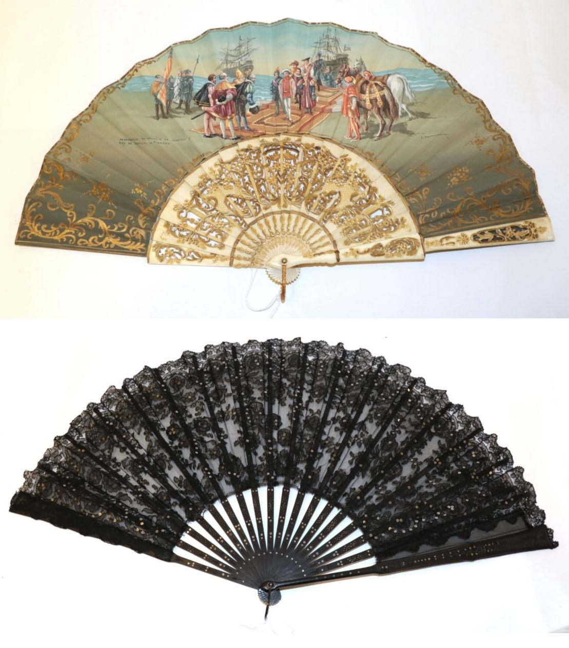 Lot 4026 - An Interesting 20th Century Bone Fan, the monture carved and pierced , the double fabric leaf...