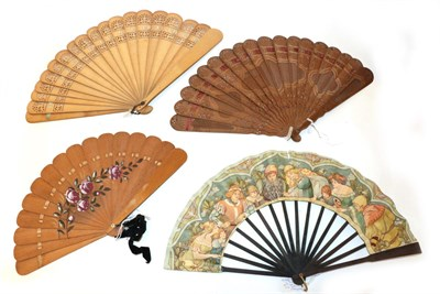 Lot 4031 - Three 19th Century Wood Brisé Fans, to include a small example painted with roses and leaves....