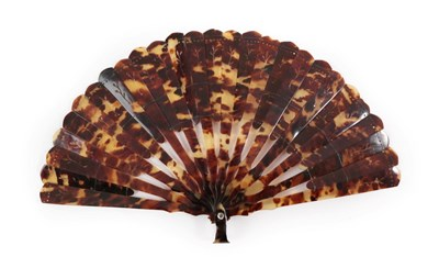 Lot 4035 - A 19th Century Brisé Fan, faux (?) tortoiseshell, sticks alternatively full or half length,...