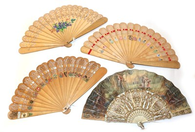 Lot 4038 - A Bone Fan with painted leaf depicting an 18th century gentleman atop a ladder with painter's...