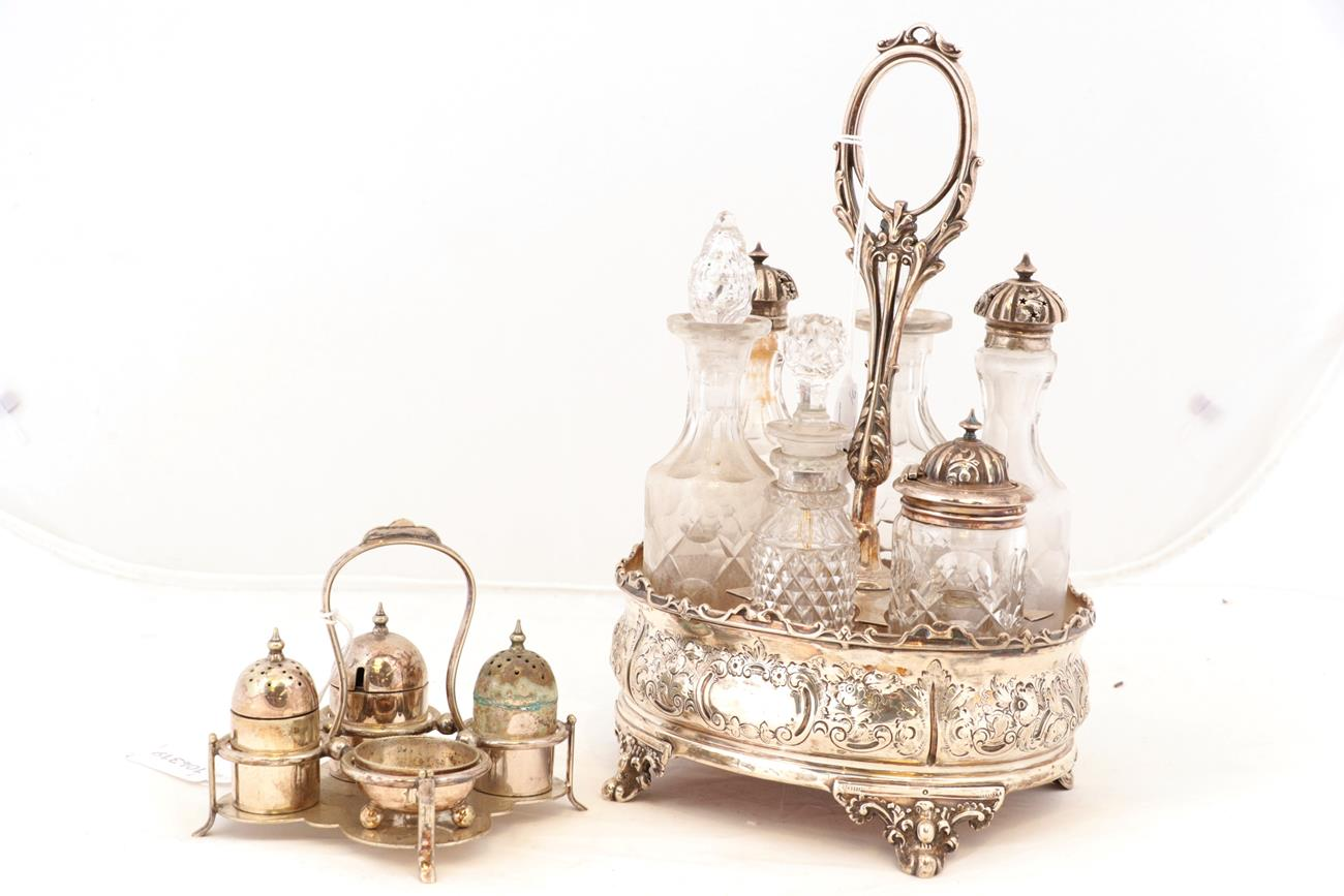Lot 37 - A Victorian Silver Cruet-Stand, by Martin and Hall, Sheffield, 1867, oval, the sides chased...