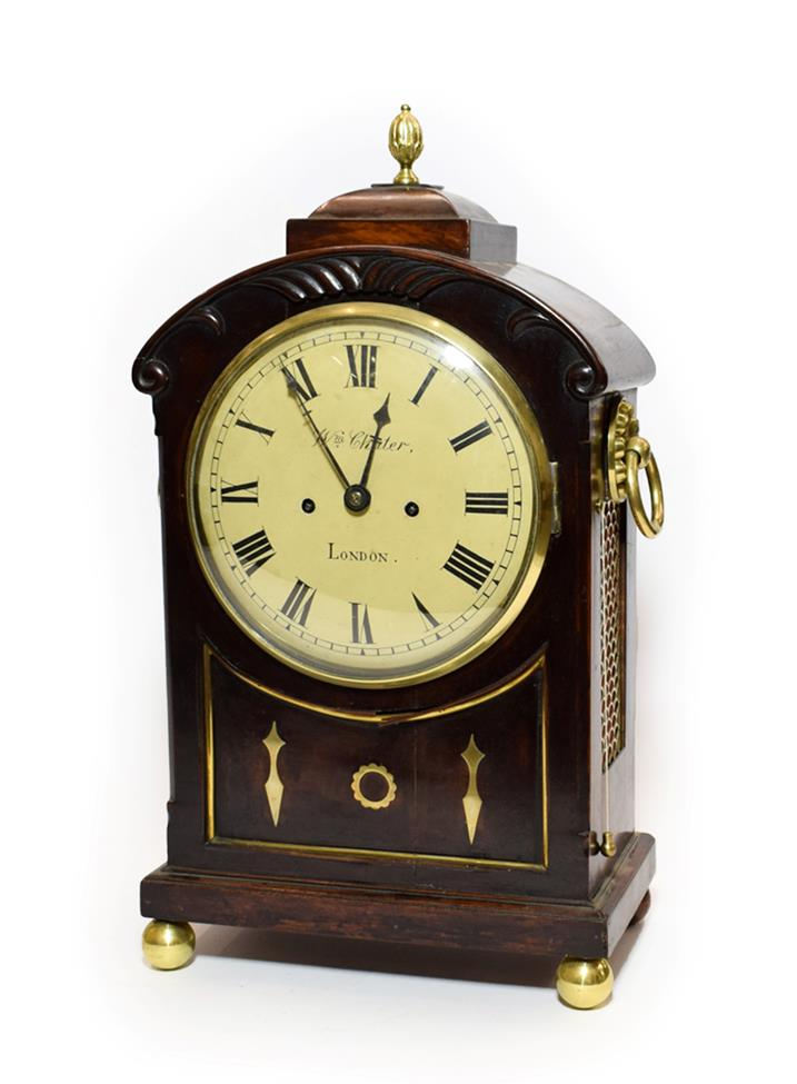 Lot 466 - A Regency Mahogany Striking Table Clock, signed Wm Chater, London, arched pediment, recessed...