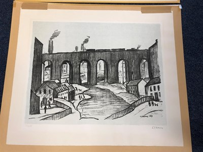 Lot 1011 - Laurence Stephen Lowry RBA, RA (1887-1976) ''Stockport Viaduct'' Signed and numbered 32/75,...
