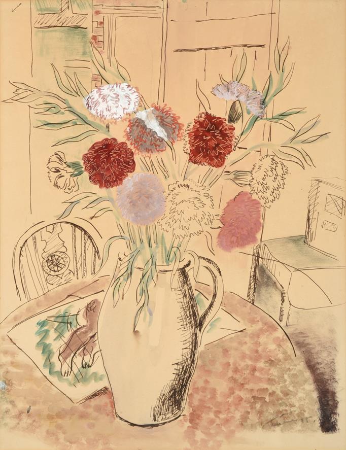 Lot 1033 - John Tunnard ARA (1900-1971) Still life of flowers in a jug with a wheelback chair Indistinctly...