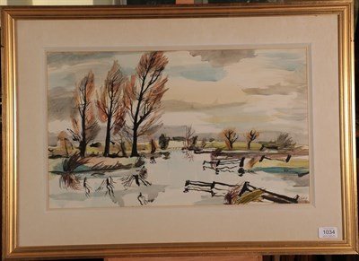Lot 1034 - Rowland Suddaby (1912-1972) ''The Stour at Henny, Essex'' Signed and dated (19)52, watercolour,...