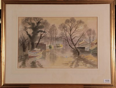 Lot 1035 - Roland Vivian Pitchforth RA, RWS, LG (1895-1982)  River scene Signed, watercolour, 31cm by...